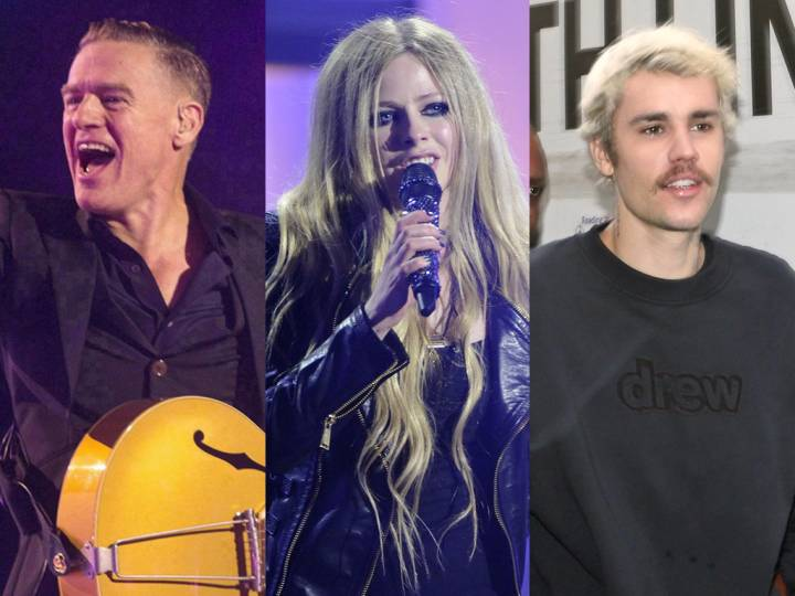 From left to right - Canadian musicians Bryan Adams, Avril Lavigne and Justin Bieber. CP Images Archive